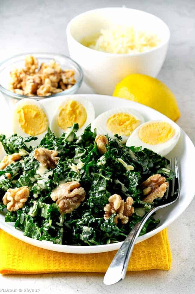 Get the recipe for this healthy Kale, Manchego Cheese and Walnut Salad. Six tips for preparing Kale Salads to convert even the most ardent kale-hater!