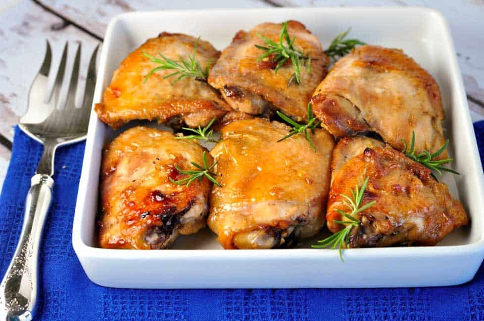 Maple Garlic Glazed Chicken Thighs. These are sweet, succulent and garlicky and perfect for an easy weeknight dinner.