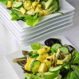 Paleo Pineapple Jicama Salad. Sweet with a little heat! Serve with your favourite spicy Tex-Mex meals for a bright refreshing contras. Suitable for Paleo diets. |www/flavourandsavour.com