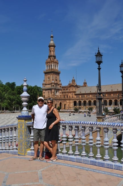 view of Plaza d'Espagna in Seville Spain