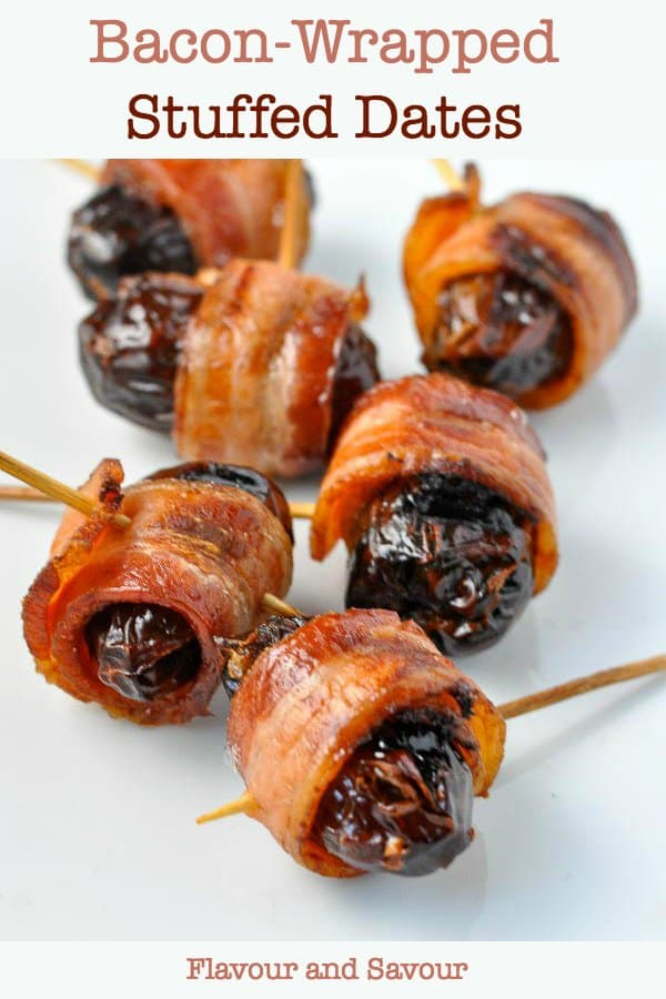 Bacon Wrapped Stuffed Dates, one of 20 easy finger food appetizers on Flavour and Savour