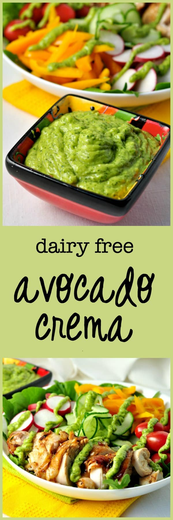 Drizzle this avocado cream on top of a simple salad, on fish tacos, on a burrito bowl or use it as a sandwich or burger spread.  It's quick and easy to whip up and you can store it in your fridge to use throughout the week.