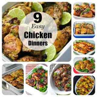 9 Easy Chicken Dinners from Flavour and Savour. Easy Thai Baked Chicken, Turmeric Honey-Mustard Chicken, Mango Chicken and lots more.