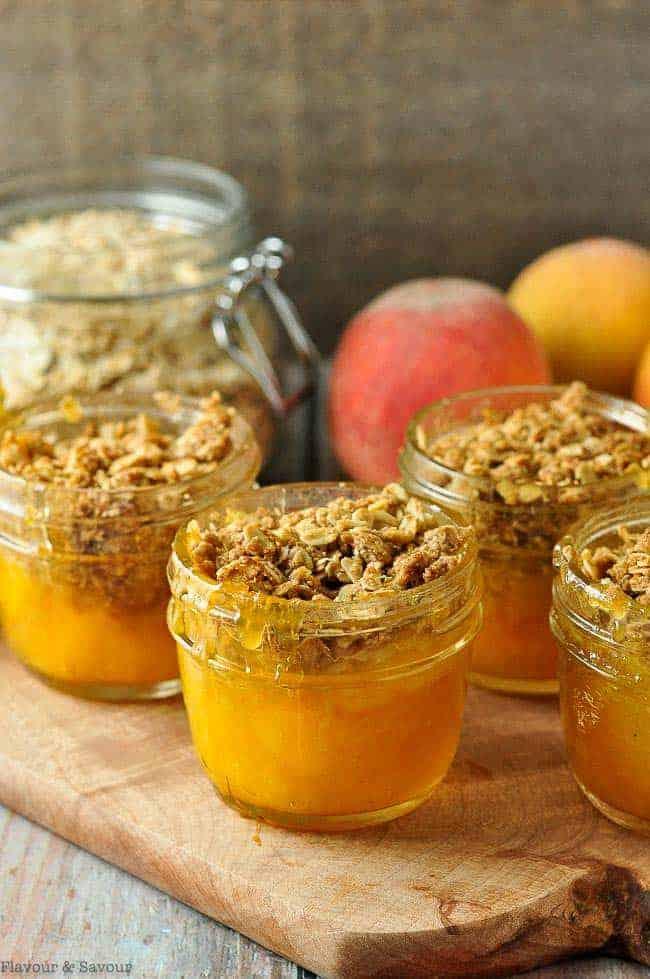 Mason Jar Peach Crisp