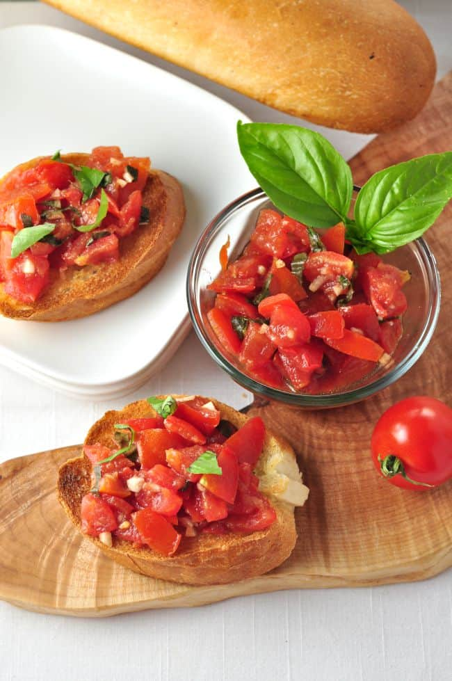 Classic Tomato Bruschetta. One of 4 quick and easy ways to use tomatoes. |www.flavourandsavour.com