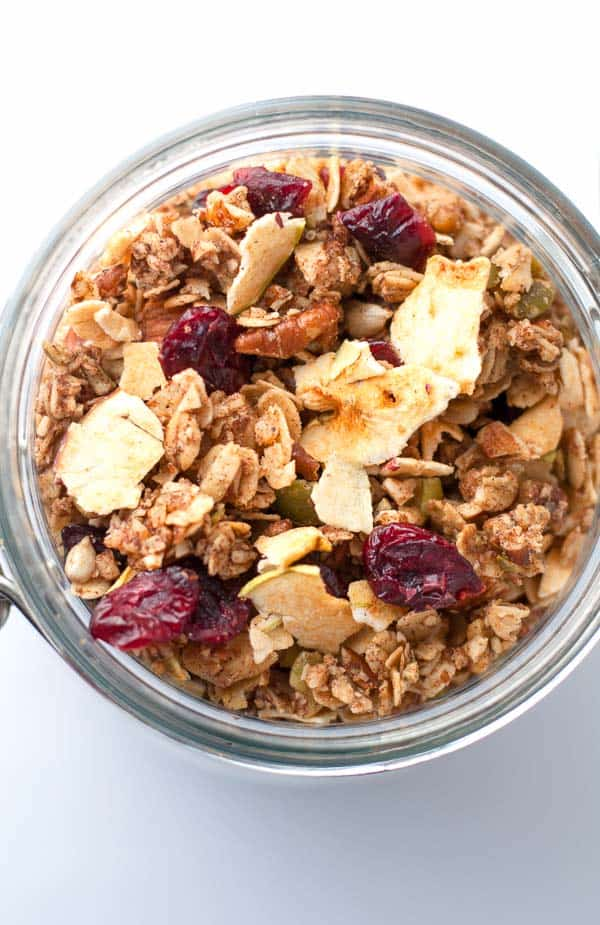 Cranberry Apple Cinnamon Granola in a Mason Jar, overhead view.