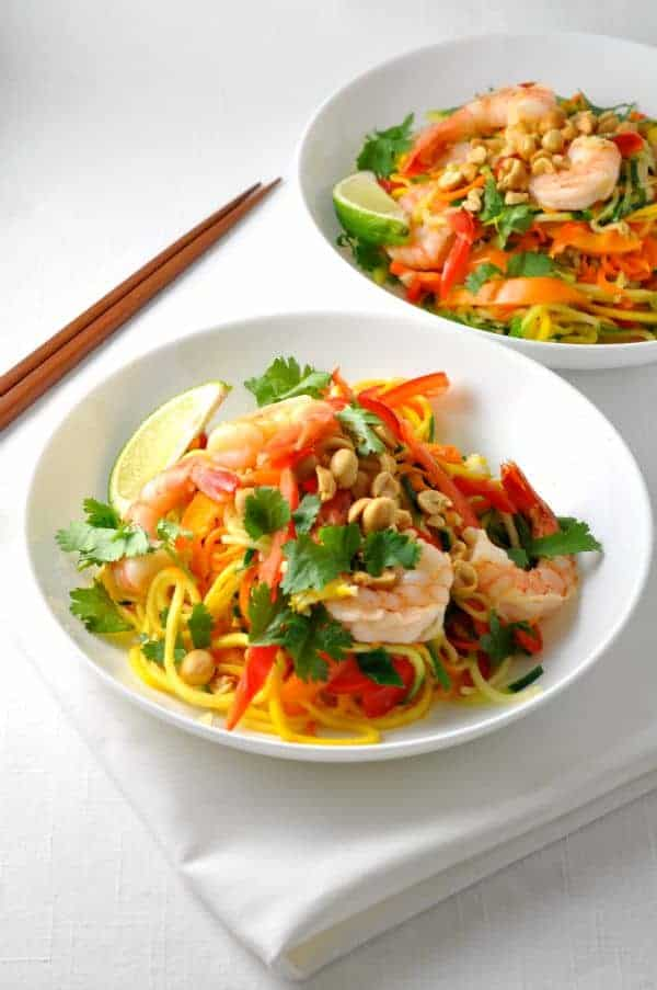 This Zoodle Pad Thai has all the flavour of traditional Pad Thai, with the nutritional benefit of zucchini instead of noodles!
