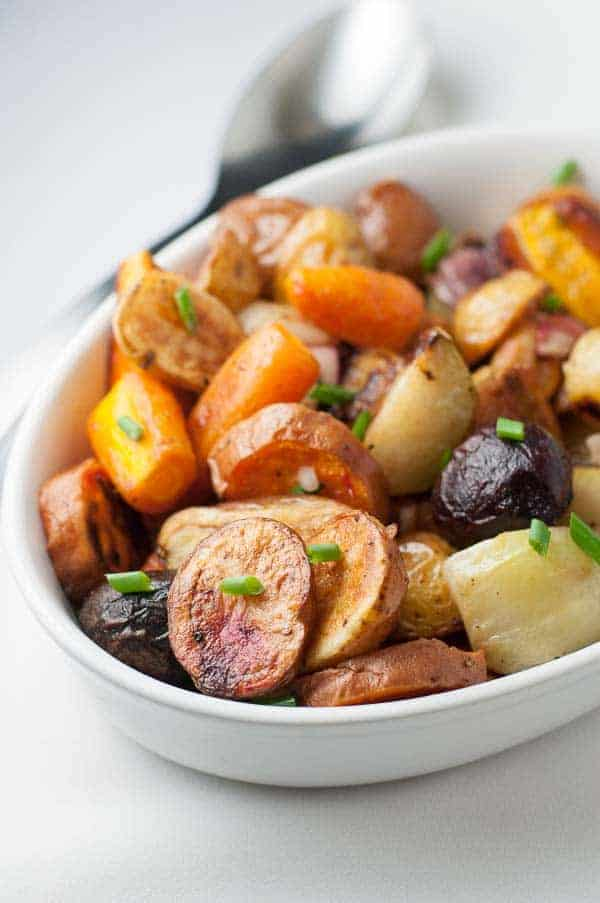 How to make Crispy Apple Cider Roasted Root Vegetables. One of our favourite holiday side dishes.