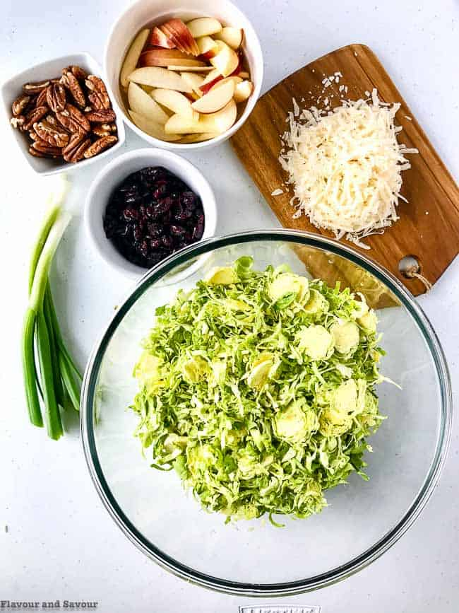 Ingredients for Shaved Brussels Sprouts Salad with Cranberries and Pecans