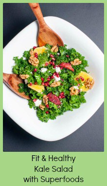 Fit and Healthy Kale Salad with Superfoods. Full of antioxidants to detoxify your body--kale, oranges, pomegranate seeds, and topped with added protein from maple-glazed walnuts and crumbled goat cheese.