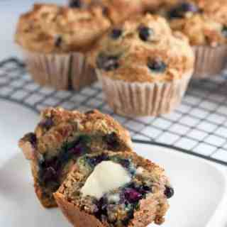Healthy Low-Fat Blueberry Banana Muffins. Less fat, sugar and dairy, but ALL the flavour. |www.flavourandsavour.com