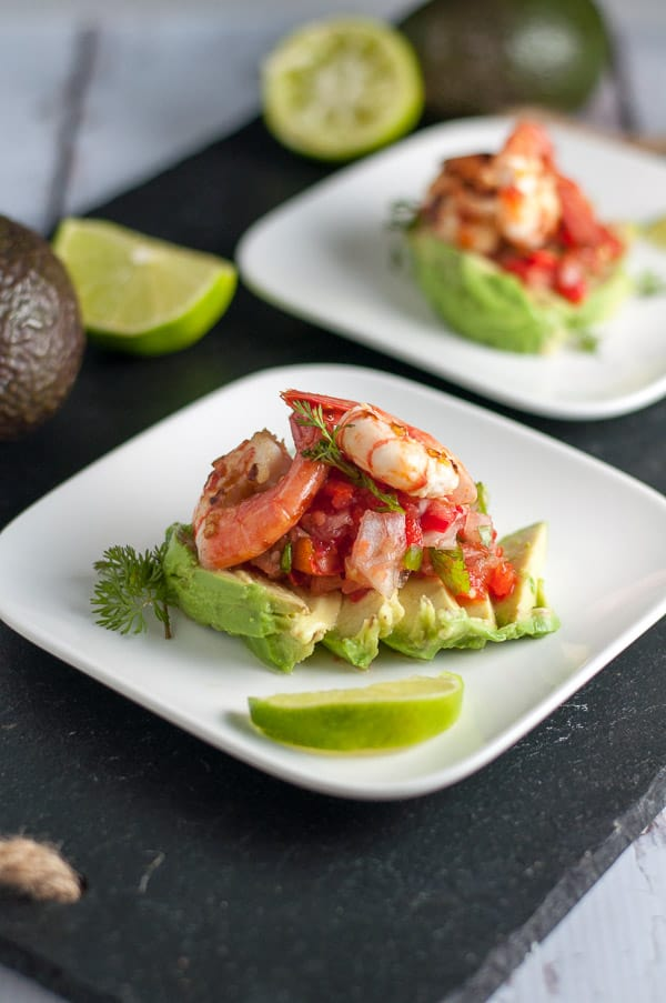Grilled Chili Lime Shrimp with Fresh Salsa and Avocado.