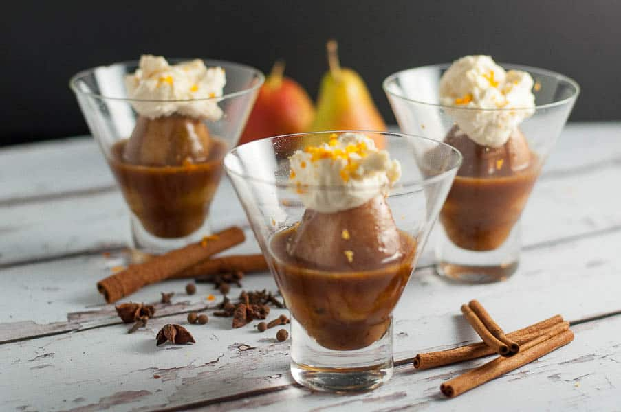 Mulled Cinnamon-Orange Poached Pears with Mascarpone. Tiny pears poached in orange juice flavoured with cinnamon, cloves, allpice, nutmeg and optional TripleSec. Serve with a dollop of mascarpone sweetened with maple syrup and orange zest. Simmer in the oven while you have dinner. So good!