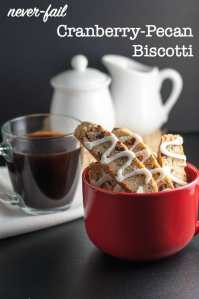 Cranberry Pecan Biscotti in a red bowl with coffee