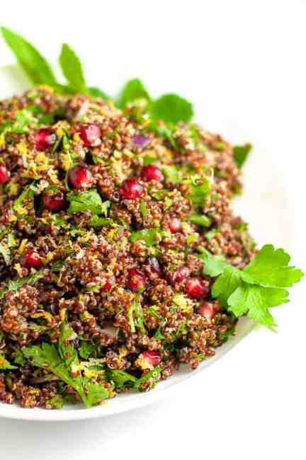 Red Quinoa Tabouli with Pomegranate. All the flavour and nutrition of tabouli, now gluten-free!  www.flavourandsavour.com