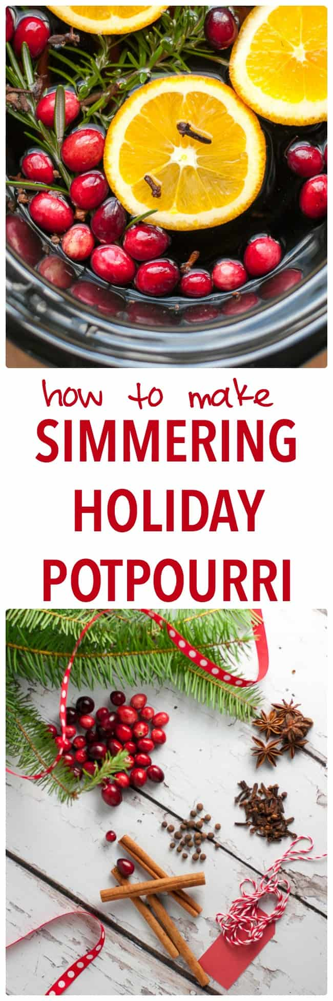 How to Make Simmering Holiday Potpourri on your stove top or in your slow cooker. Makes your home smell like Christmas! Includes printable gift tags, too.