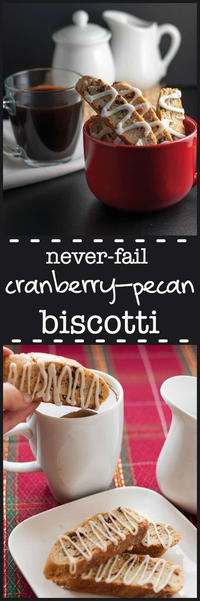 Never-fail Cranberry Pecan Biscotti with Lemon Drizzle.