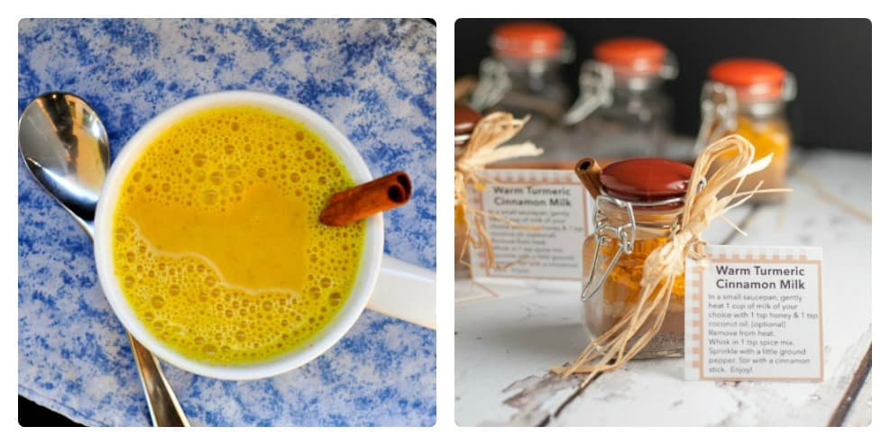 Warm Turmeric Cinnamon Milk. This Golden Milk has many healthy benefits and it may even help you sleep!