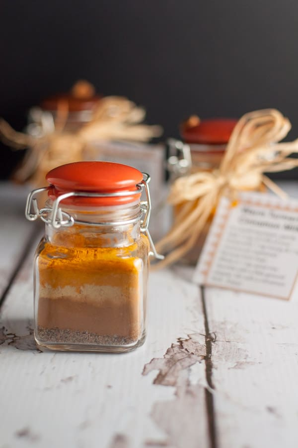 Get the recipe, instructions and printable tags to make this Warm Cinnamon Turmeric Milk. This spice mix makes a great gift! This post includes more homemade gifts from the kitchen, too.