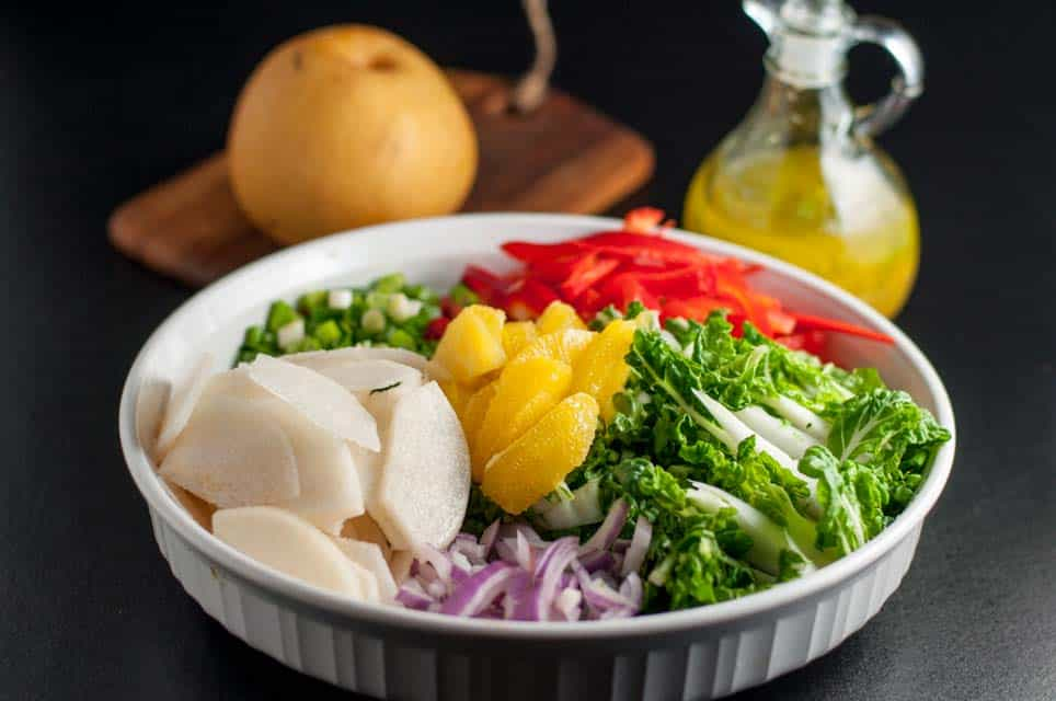 Baby Bok Choy Salad with Ginger-Orange Dressing. Add some color to your diet with this healthy salad made with tender baby bok toy, Asian pear, oranges and peppers. Drizzle it all with a ginger-orange dressing.