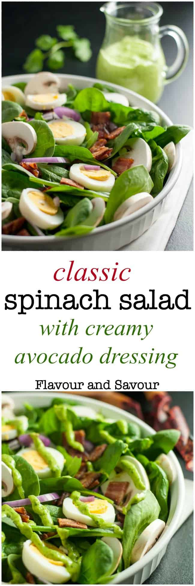 Love spinach salad but hate the high-fat buttermilk dressing? Try this updated paleo spinach salad with creamy dairy-free avocado dressing. So good! #paleo #whole30 #nomayo #avocadocream