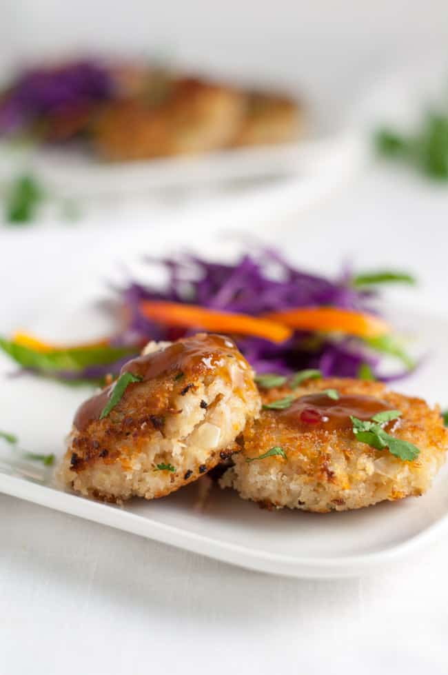 Bangkok Crab Cakes with Spicy Thai Dip. A twist on traditional crab cakes, these pack a punch of flavour!