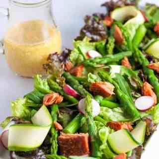 Asparagus Salad with Smoked Salmon and Sesame Miso Vinaigrette