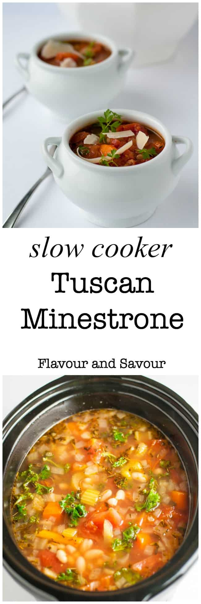 This one-pot healthy and hearty Tuscan Minestrone soup is brimming with rich Italian tomato flavour. It's an easy slow-cooker soup. Set it and forget it!  It's a simple, rustic meatless meal that totally satisfies. #vegetarian #glutenfree #slowcooker #minestrone #Italian
