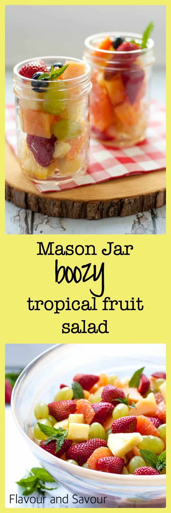 Mason Jar Boozy Tropical Fruit Salad. Fresh tropical fruit drizzled with Limoncello liqueur in a Mason jar makes a fancy dessert for your next picnic or camping trip!
