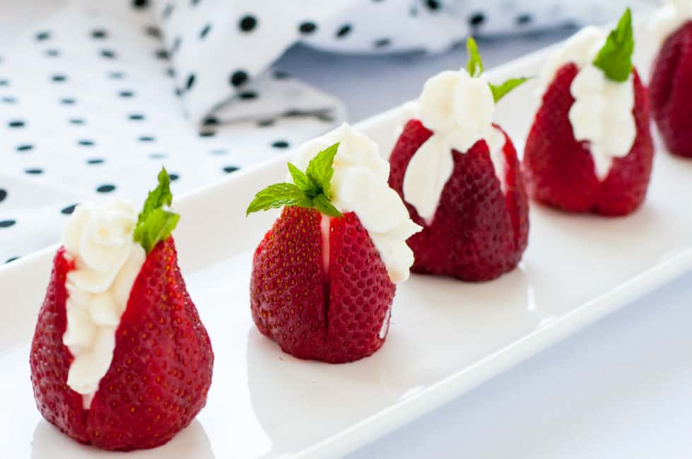 Sweet Goat Cheese Stuffed Strawberries with Mint |www.flavourandsavour.com