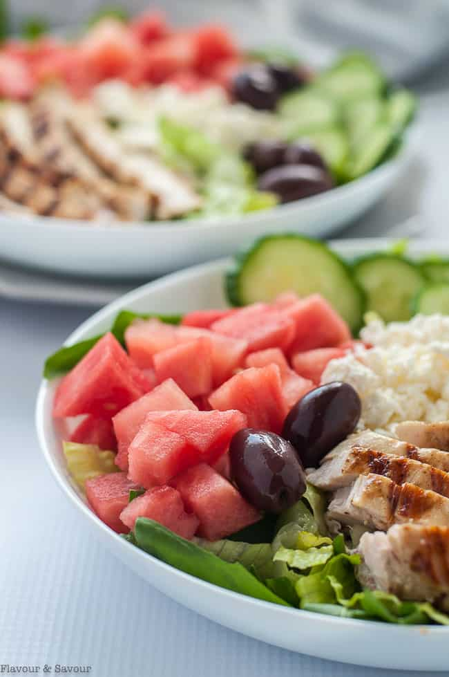 Skinny Greek Chicken Bowl with Watermelon and Feta