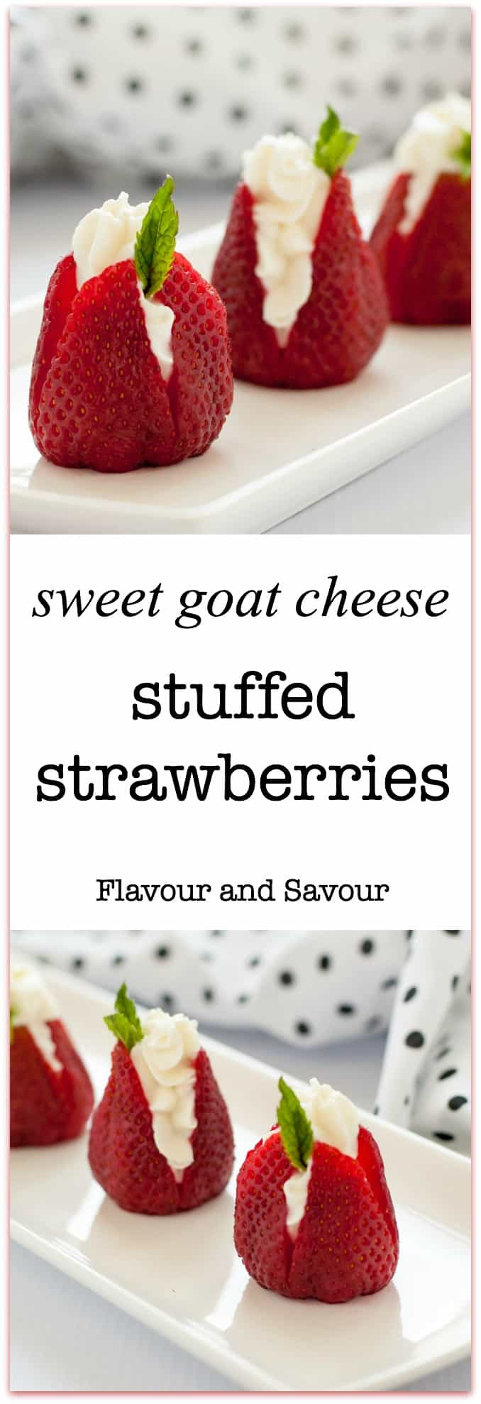 Sweet Goat Cheese Stuffed Strawberries make an easy appetizer to celebrate strawberry season. You only need 4 ingredients and 5 minutes to whip these up.
