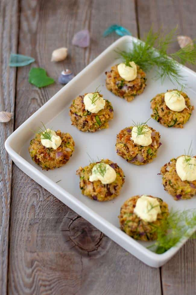 Smoked Salmon Zucchini Cakes with Lemon Dill Dip