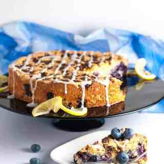 Gluten-Free Blueberry Lemon Coffee Cake. Full of fresh blueberries and lightly flavoured with almond and lemons. |www.flavourandsavour.com