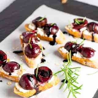 Roasted Cherry Goat Cheese Crostini
