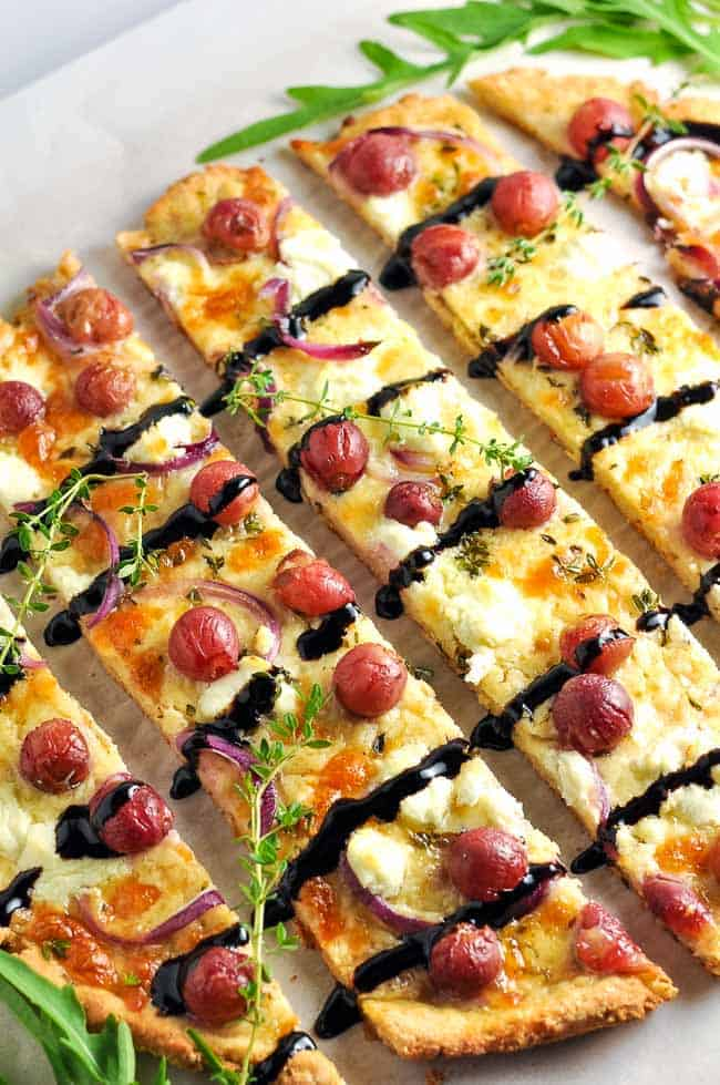 Roasted Grape Goat Cheese Balsamic Pizza (gluten-free)|www.flavourandsavour.com