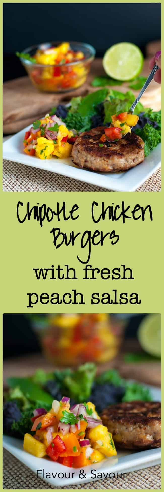 Chipotle Chicken Burgers with Fresh Peach Salsa.
