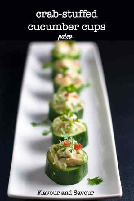 Looking for an easy seafood appetizer? Crab-stuffed Cucumber Cups make refreshing finger-food. They're paleo, gluten-free, dairy-free and delicious!  #fresh #crab #appetizer #cucumber #finger_food #paleo #gluten_free