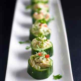 Paleo Crab-Stuffed Cucumber Cups. An easy healthy appetizer that's gluten-free and dairy-free! |www.flavourandsavour.com