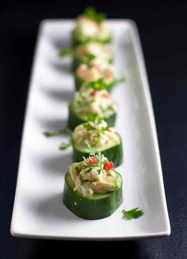 Crab-Stuffed Cucumber Cups