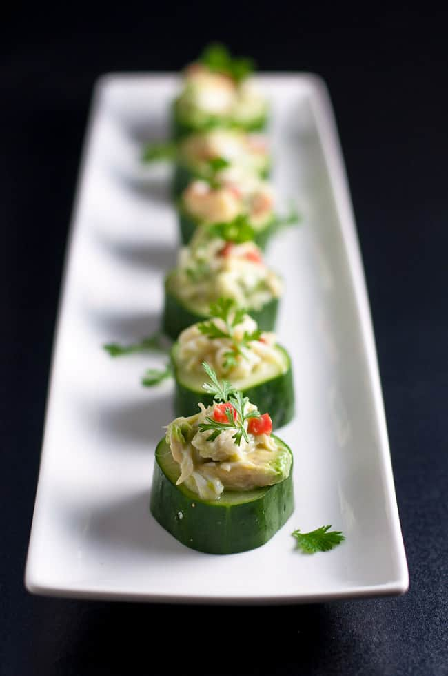 Paleo Crab-Stuffed Cucumber Cups. An easy healthy appetizer that's gluten-free and dairy-free!  www.flavourandsavour.com