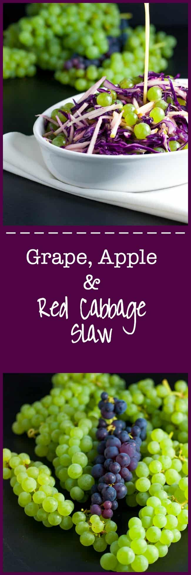 Grape, Apple and Red Cabbage Slaw. A paleo side dish, full of Vitamin C! It's crunchy, tart and sweet, all at the same time and it's dressed with a light apple cider and honey vinaigrette that adds just the touch of sweetness needed to perfectly balance the flavours.  www.flavourandsavour.com