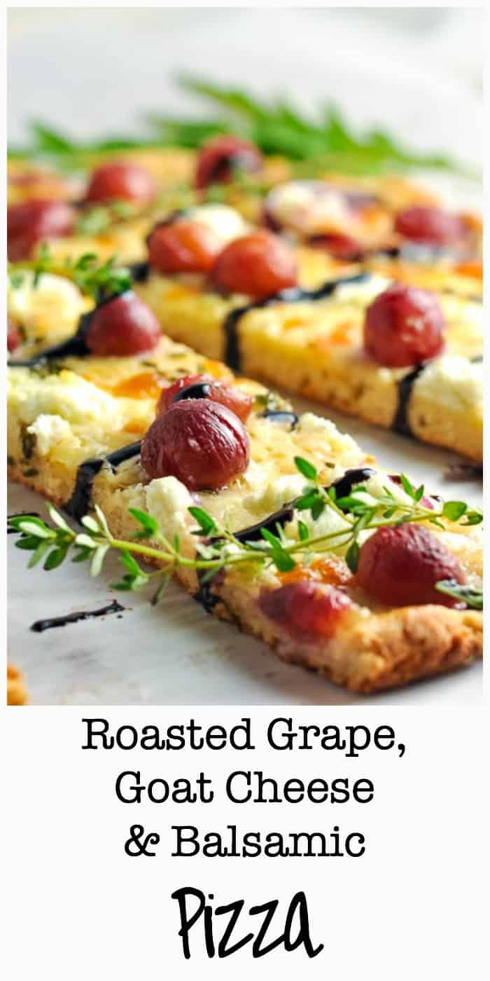 This Roasted Grape Goat Cheese Balsamic Pizza is quick to assemble with only four ingredients and a gluten-free crust. Great as a vegetarian option!