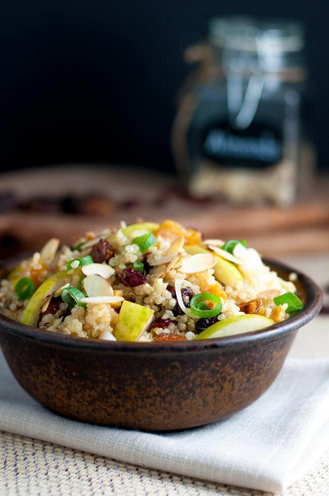 Nourishing Quinoa Salad with Cranberries and Pears.Make this gluten-free quinoa salad with cranberries and pears for a healthy lunch or a side dish. Perfect for a potluck!  www.flavourandsavour.com