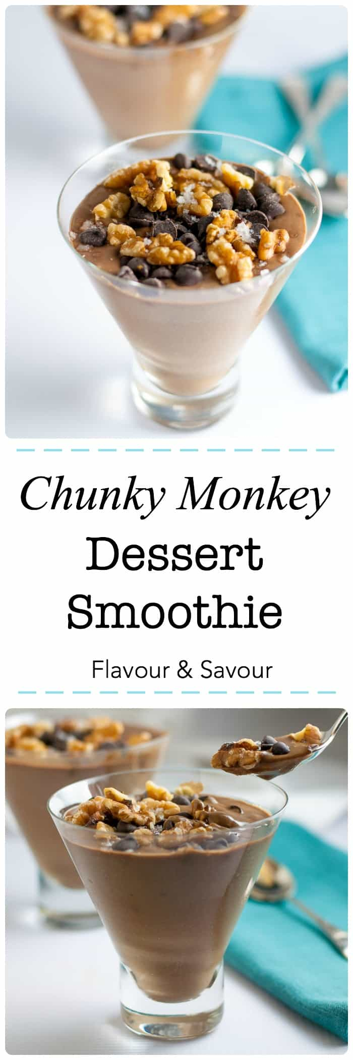Chunky Monkey Dessert Smoothie. A nutritious dessert made with vegan protein shake, Silk non-dairy milk, banana, avocado, and nut butter. #SilkSummerofSmoothies #ad #VegaOne