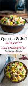 Make this gluten-free, nourishing quinoa salad with cranberries and pears for a healthy lunch or a side dish. Perfect for a potluck!