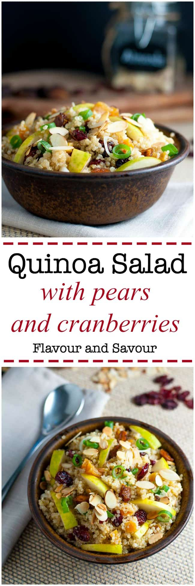Nourishing Quinoa Salad with Cranberries and Pears. Make this gluten-free quinoa salad with cranberries and pears for a healthy lunch or a side dish. Perfect for a potluck!