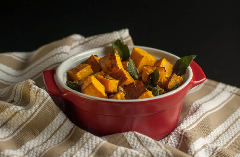 Roasted Butternut Squash with Toasted Sage and Pumpkin Seeds. An easy way to dress up your favourite squash. |www.flavourandsavour.com