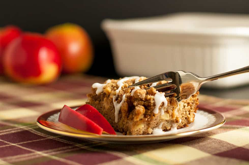 This Gluten-Free Apple Cinnamon Coffee Cake is tender, moist, grain-free and dairy-free. It's sweetened with maple syrup and coconut sugar. You'd never guess it's Paleo!|www.flavourandsavour.com