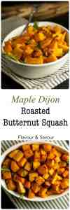 It's a little sweet, a little spicy and this crispy Maple Dijon Roasted Butternut Squash will be an ideal side dish for fall or winter dinner.  Vegan and Paleo.|www.flavourandsavour.com